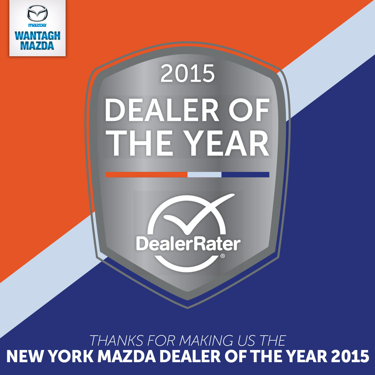 Wantagh Mazda Wins 2015 DealerRater Mazda Dealer of the Year in New York
